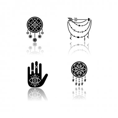Accessories in boho style drop shadow black glyph icons set. Palmistry, witchcraft and esoteric amulets. Dreamcatcher, hand and all seeing eye talismans. Isolated vector illustrations on white space icon