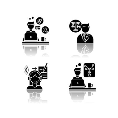 Distant workers drop shadow black glyph icons set. Creative and graphic design, transcription and legal service. Lawyer and designer, translator. Isolated vector illustrations on white space icon