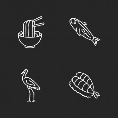 Japan chalk white icons set on black background. Ramen in bowl with chopsticks. Koi carp fish. Crane bird. Sushi dish. Traditional japanese attributes. Isolated vector chalkboard illustrations icon