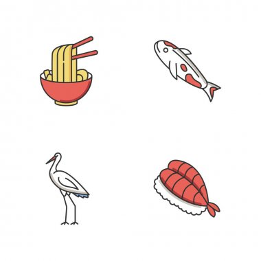 Japan RGB color icons set. Ramen in bowl with chopsticks. Koi carp fish. Crane bird. Sushi dish. Asian cuisine. Chinese dish. Traditional japanese attributes. Isolated vector illustrations icon