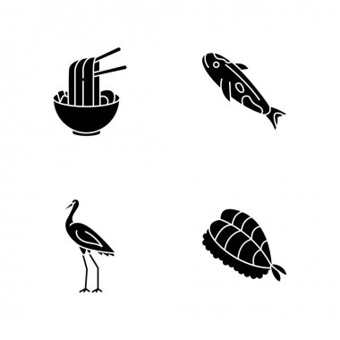 Japan black glyph icons set on white space. Ramen in bowl with chopsticks. Koi carp fish. Crane bird. Sushi dish. Traditional japanese attributes. Silhouette symbols. Vector isolated illustration icon