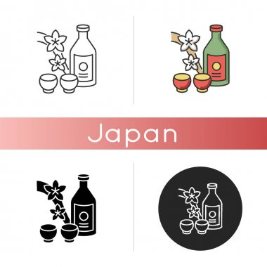 Sake icon. Japanese rice wine and sakura branch. Korean soju drink with two mugs. Asian liquor in bottle with shot cups. Linear black and RGB color styles. Isolated vector illustrations icon