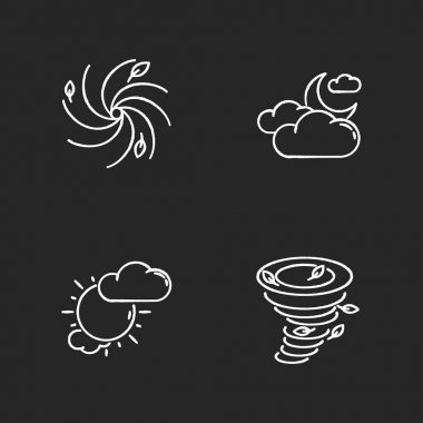 Meteorological warning chalk white icons set on black background. Bad weather forecast, prediction. Cloudy and partly cloudy skies, hurricane, tornado. Isolated vector chalkboard illustrations icon