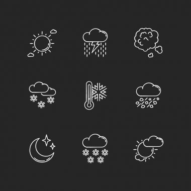 Sky clarity and precipitation chalk white icons set on black background. Seasonal weather forecast, meteorological report. Atmosphere condition prediction. Isolated vector chalkboard illustrations icon
