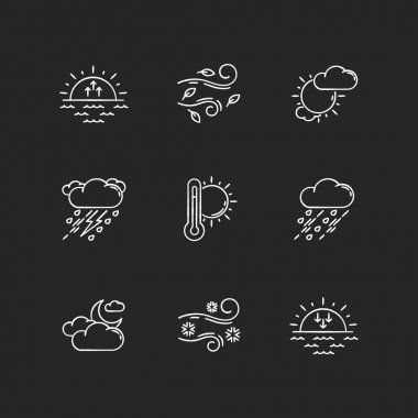 Weather forecast chalk white icons set on black background. Sky condition and temperature prediction. Day and night atmospheric precipitation, wind speed. Isolated vector chalkboard illustrations icon
