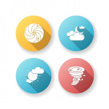 Meteorological warning flat design long shadow glyph icons set. Bad weather forecast, prediction. Cloudy and partly cloudy skies, hurricane, tornado. Silhouette RGB color illustration icon