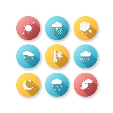 Sky clarity and precipitation flat design long shadow glyph icons set. Seasonal weather forecast, meteorological report. Atmosphere condition prediction. Silhouette RGB color illustration icon