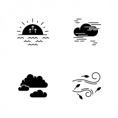 Morning weather black glyph icons set on white space. Meteorological forecast, environment condition report silhouette symbols. Sunrise, fog, cloudy sky and strong wind. Vector isolated illustration icon