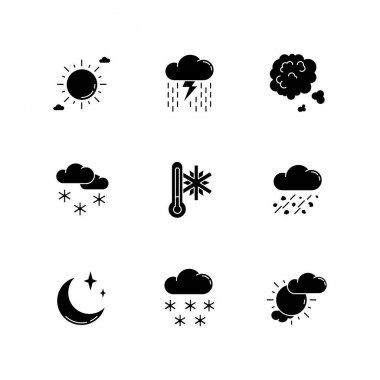 Sky clarity and precipitation black glyph icons set on white space. Seasonal weather forecast, meteorological report silhouette symbols. Atmosphere condition prediction. Vector isolated illustration icon