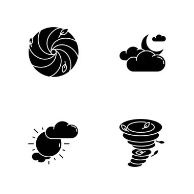 Meteorological warning black glyph icons set on white space. Bad weather forecast, prediction silhouette symbols. Cloudy and partly cloudy skies, hurricane, tornado. Vector isolated illustration icon