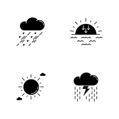 Daytime and nighttime forecast black glyph icons set on white space. Weather prediction science, meteorology silhouette symbols. Sky clarity and atmospheric precipitation. Vector isolated illustration icon