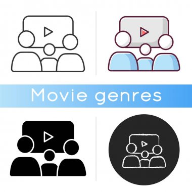 Family picture icon. Linear black and RGB color styles. Filmmaking style, cinema genre. Family friendly movies and TV series. Parents and kid watching film isolated vector illustrations icon