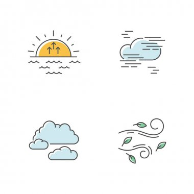 Morning weather RGB color icons set. Meteorological forecast, environment condition report. Sunrise, fog, cloudy sky and strong wind. Isolated vector illustrations icon