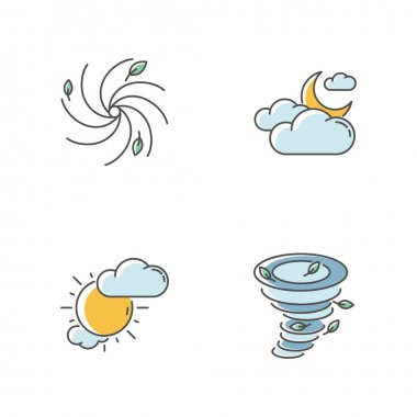 Meteorological warning RGB color icons set. Bad weather forecast, prediction. Cloudy and partly cloudy skies, hurricane, tornado. Isolated vector illustrations icon