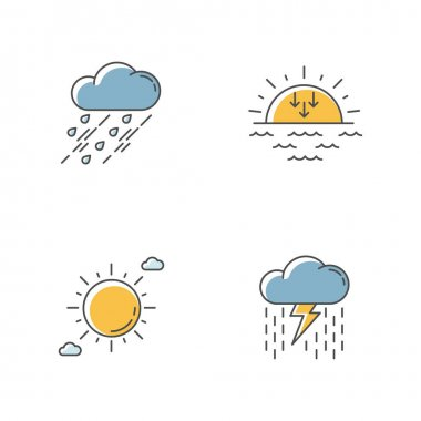 Daytime and nighttime forecast RGB color icons set. Weather prediction science, meteorology. Sky clarity and atmospheric precipitation. Isolated vector illustrations icon