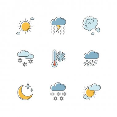 Sky clarity and precipitation RGB color icons set. Seasonal weather forecast, meteorological report. Atmosphere condition prediction. Isolated vector illustrations icon