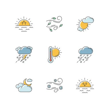 Weather forecast RGB color icons set. Sky condition and temperature prediction. Day and night atmospheric precipitation, wind speed. Isolated vector illustrations icon