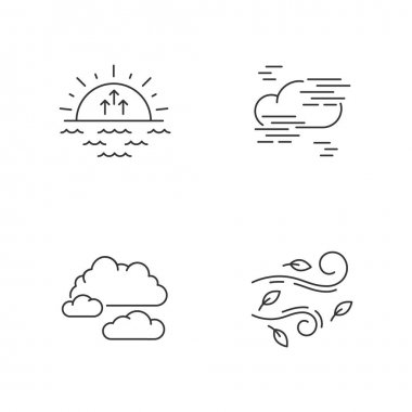 Morning weather pixel perfect linear icons set. Meteorological forecast, environment condition report customizable thin line contour symbols. Isolated vector outline illustrations. Editable stroke icon