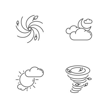Meteorological warning pixel perfect linear icons set. Bad weather forecast, prediction customizable thin line contour symbols. Isolated vector outline illustrations. Editable stroke icon