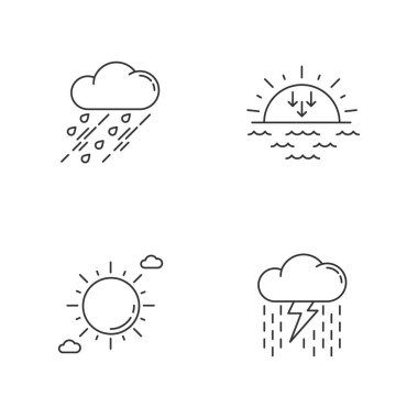 Daytime and nighttime forecast pixel perfect linear icons set. Weather prediction science, meteorology customizable thin line contour symbols. Isolated vector outline illustrations. Editable stroke icon
