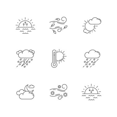 Weather forecast pixel perfect linear icons set. Sky condition and temperature prediction customizable thin line contour symbols. Isolated vector outline illustrations. Editable stroke icon