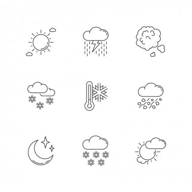 Sky clarity and precipitation pixel perfect linear icons set. Seasonal weather forecast, meteorologiy customizable thin line contour symbols. Isolated vector outline illustrations. Editable stroke icon