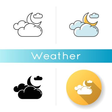 Cloudy night sky icon. Linear black and RGB color styles. Nighttime weather forecast, meteorology science. Atmosphere condition prediction. Crescent and clouds isolated vector illustrations icon