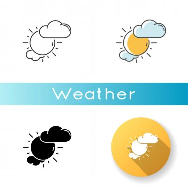 Partly cloudy icon. Linear black and RGB color styles. Daytime weather forecast, meteorological prediction. Moody sky, partly sunny. Shiny sun with clouds isolated vector illustrations icon