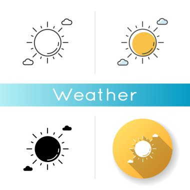 Clear sunny sky icon. Linear black and RGB color styles. Partly cloudy meteo forecast, summertime weather, meteorology. Summer heat. Shining sun with clouds. Isolated vector illustrations icon
