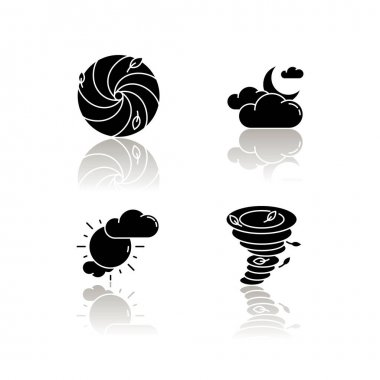 Meteorological warning drop shadow black glyph icons set. Bad weather forecast, prediction. Cloudy and partly cloudy skies, hurricane, tornado. Isolated vector illustrations on white space icon