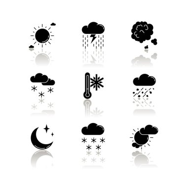 Sky clarity and precipitation drop shadow black glyph icons set. Seasonal weather forecast, meteorological report. Atmosphere condition prediction. Isolated vector illustrations on white space icon