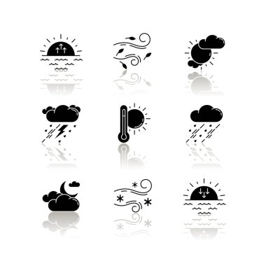 Weather forecast drop shadow black glyph icons set. Sky condition and temperature prediction. Day and night atmospheric precipitation, wind speed. Isolated vector illustrations on white space icon