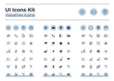 Weather UI icons kit. Forecast thin line, glyph and color vector symbols set. Sunny and cloudy. Warm, cold climate. Meteorology mobile app buttons in blue circles pack. Web design elements collection icon