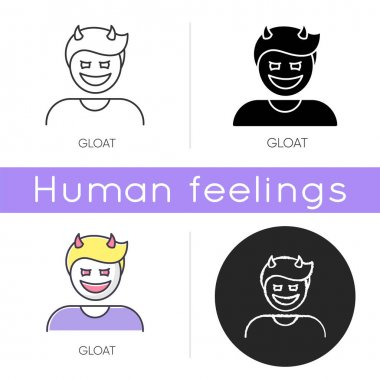 Gloat icon. Evil smile. Bad attitude. Vicious smirk. Scary person. Devil facial expression. Destructive behaviour. Antisocial disorder. Linear black and RGB color styles. Isolated vector illustrations icon
