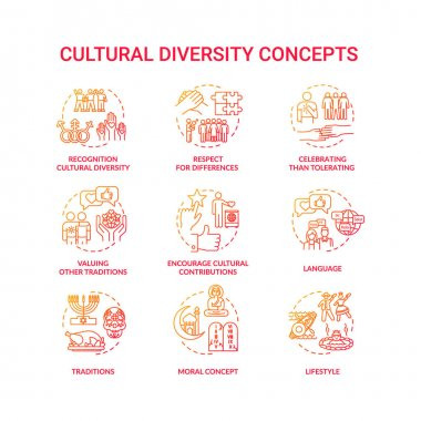 Cultural diversity concept red icons set. Respect for different nationality. Multi ethnic equality in group idea thin line RGB color illustrations. Vector isolated outline drawings icon