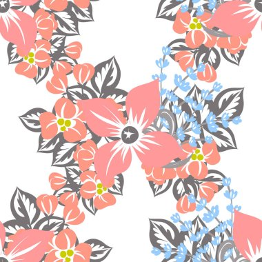 Elegance pattern with colorful tender flowers clip art vector