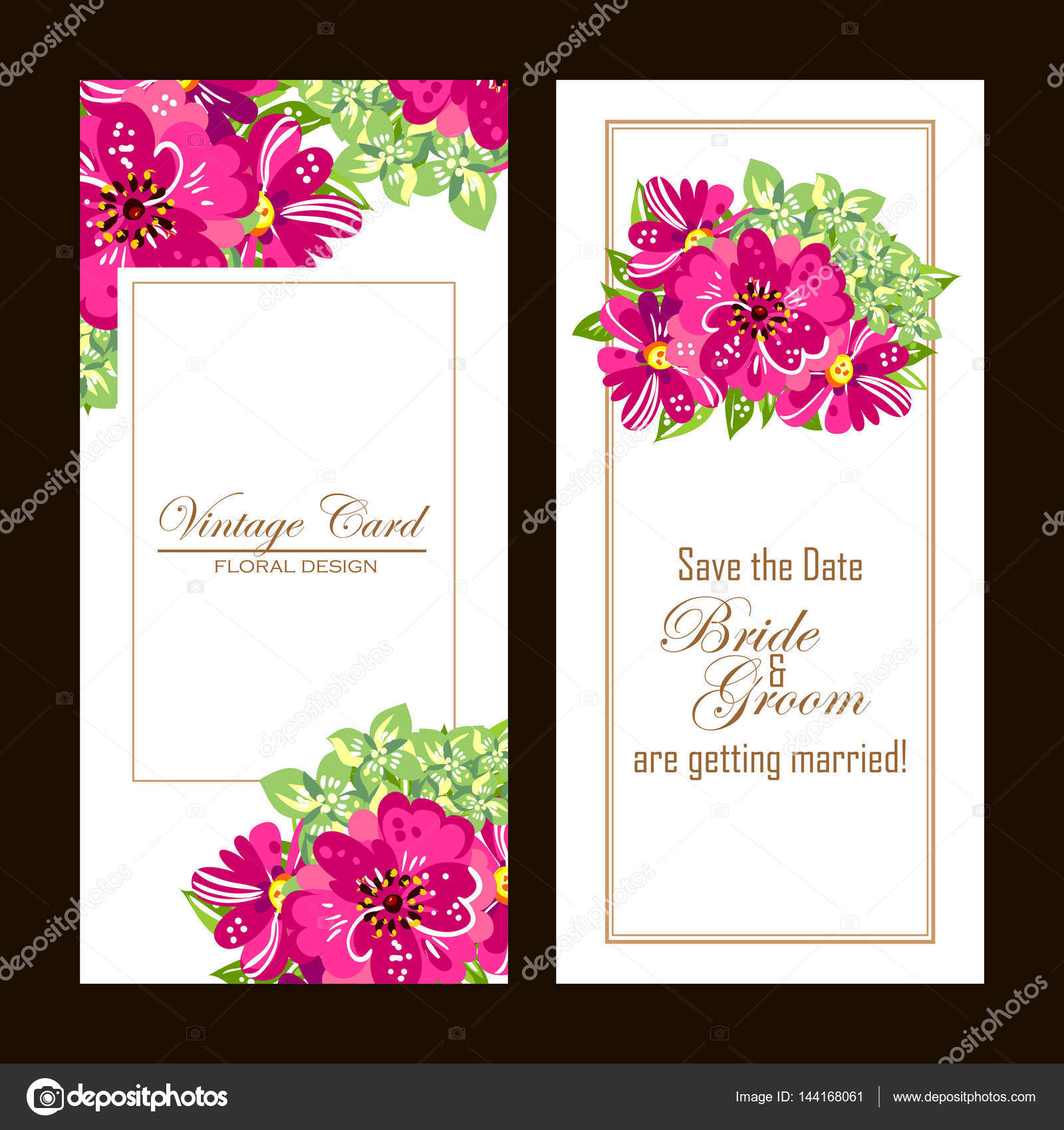 Romantic invitation cards vetor de stock all about flowers romantic invitation cards wedding marriage bridal birthday valentines day vector illustration vetor por all about flowers stopboris Choice Image