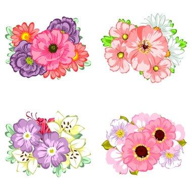flower bouquets set