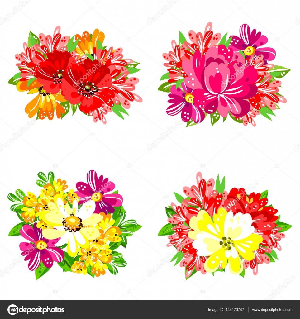 conjunto de ramos de flores u ilustracin de stock