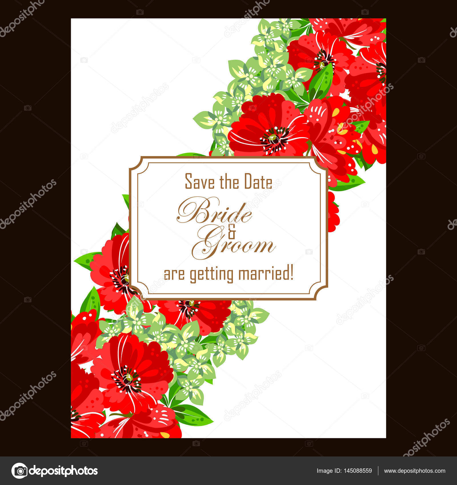 Floral wedding invitation card — Stock Vector © All-about-Flowers ...