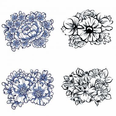 Set of beautiful ornate flowers