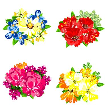Set of four colorful flower bouquets isolated on white background clip art vector