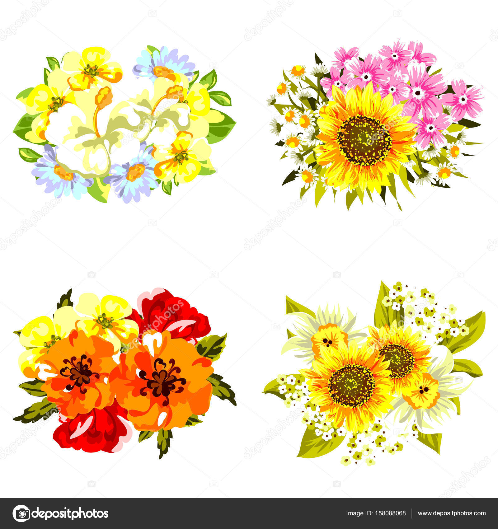 Set of beautiful colorful flowers — Stock Vector © All-about-Flowers ...