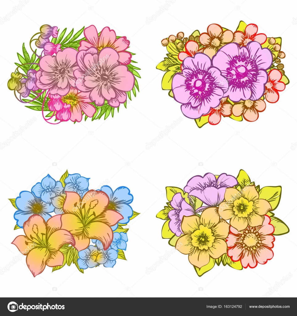 colorful flower bouquets — Stock Vector © All-about-Flowers #163124792