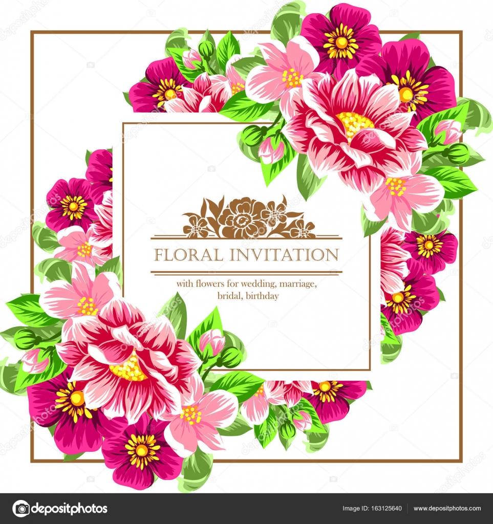 Vintage Blumen Hochzeit Einladungskarte Stockvektor C All About