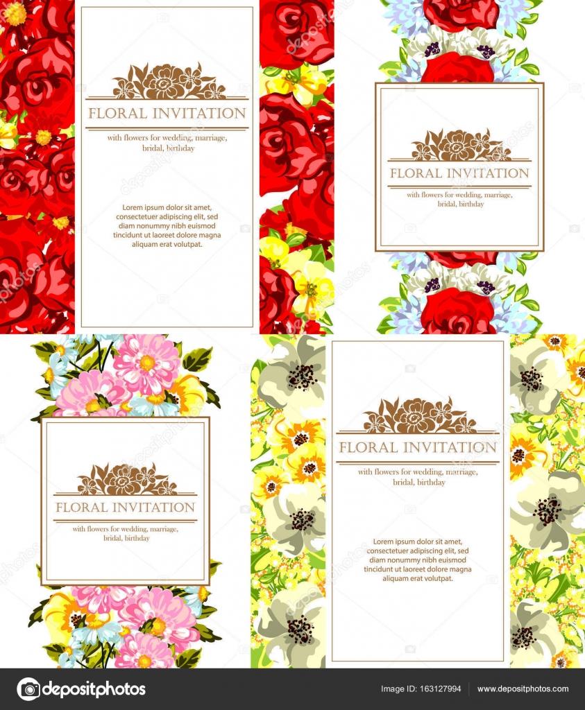 Vintage Blumen Hochzeit Einladungskarten Stockvektor C All About