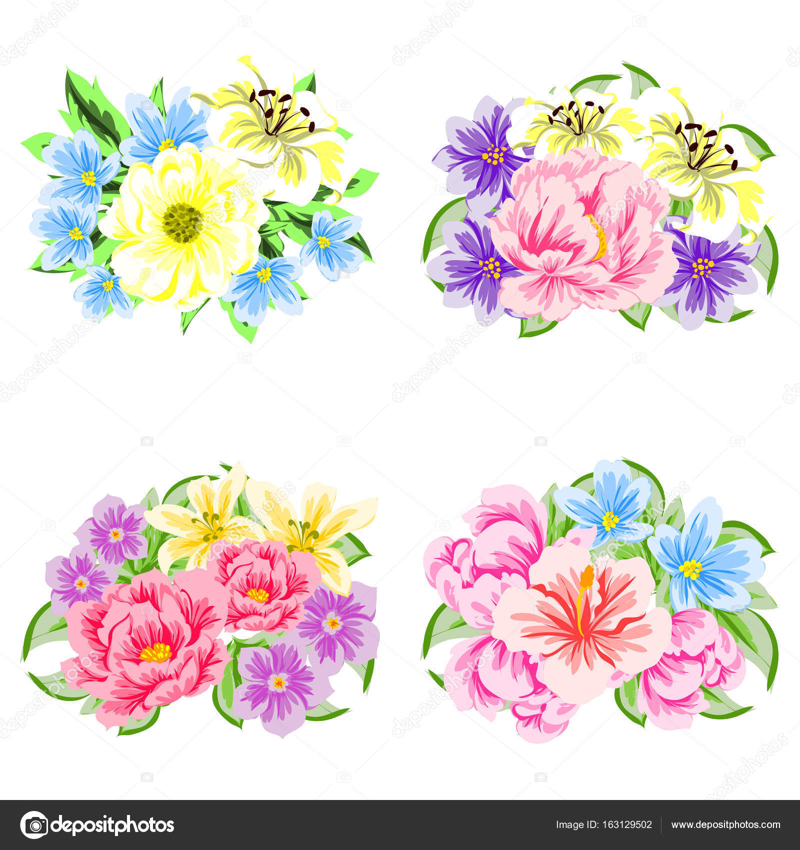 colorful flower bouquets — Stock Vector © All-about-Flowers #163129502