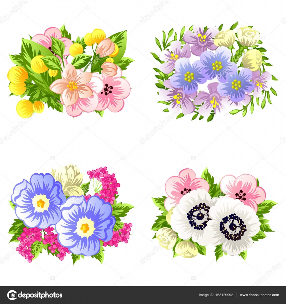 colorful flower bouquets — Stock Vector © All-about-Flowers #163129992