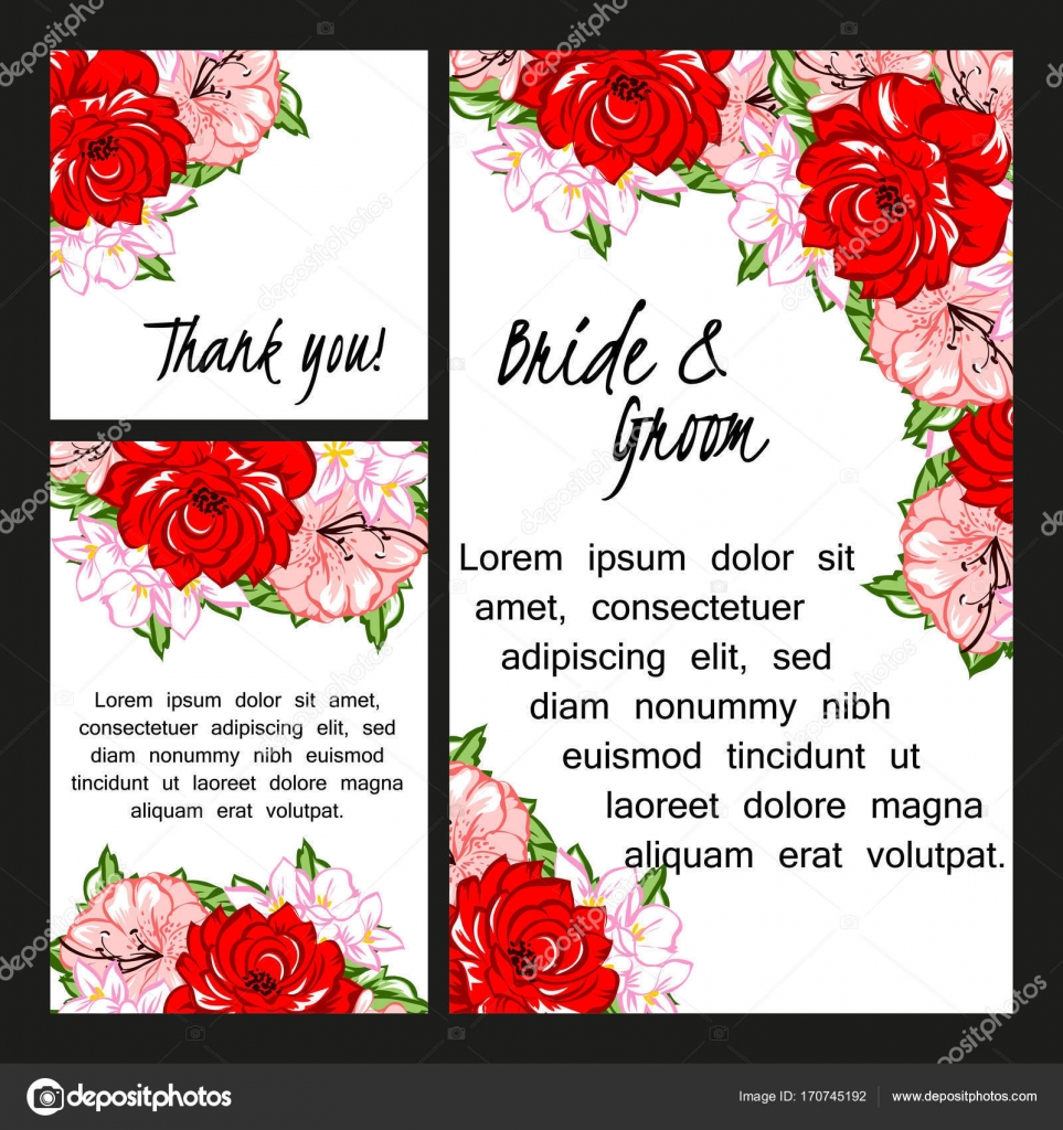 floral wedding invitation card stock vector - Invitation Card Stock