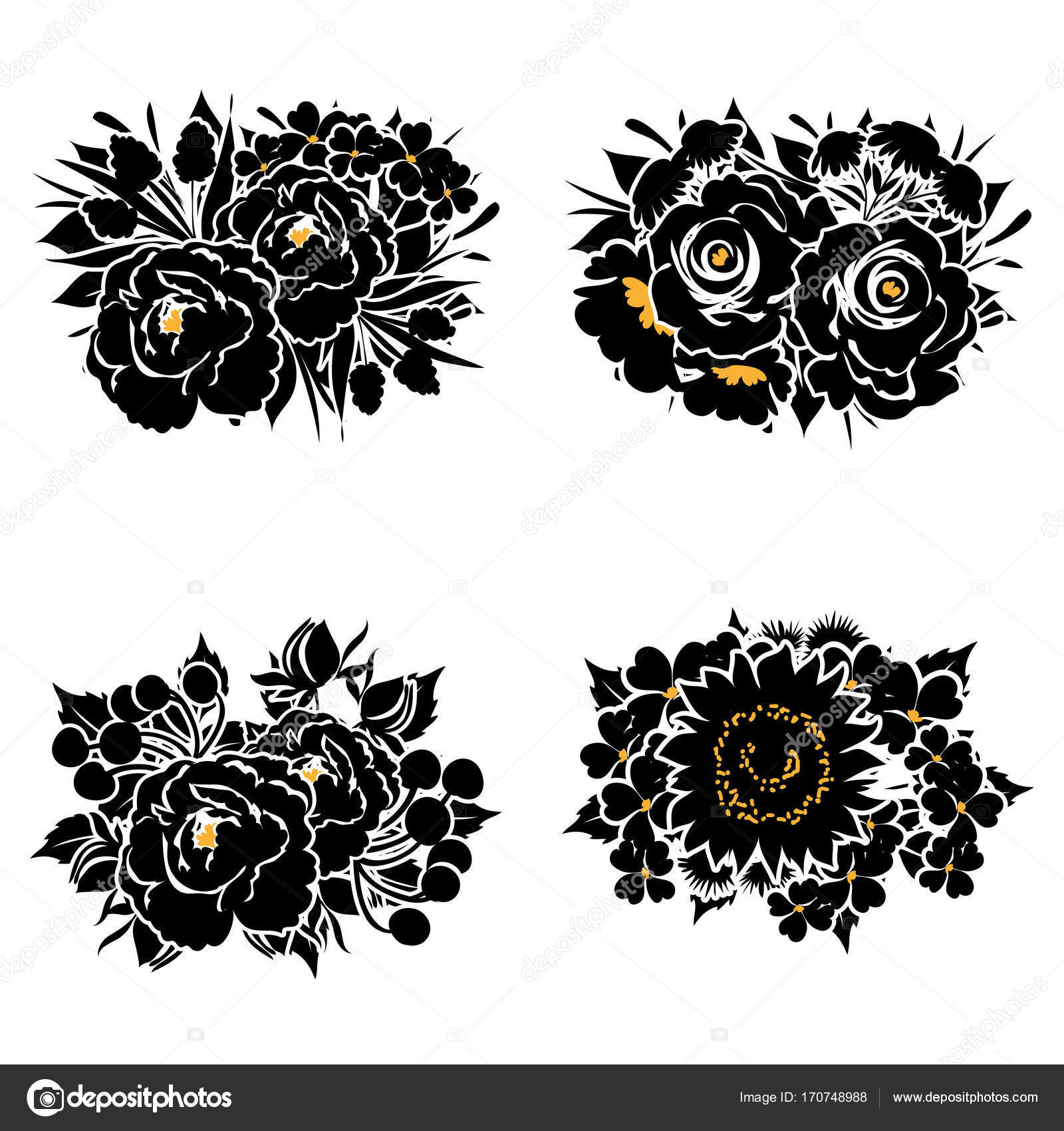 Set four ornate flower bouquets isolated white background stock set four ornate flower bouquets isolated white background stock vector izmirmasajfo